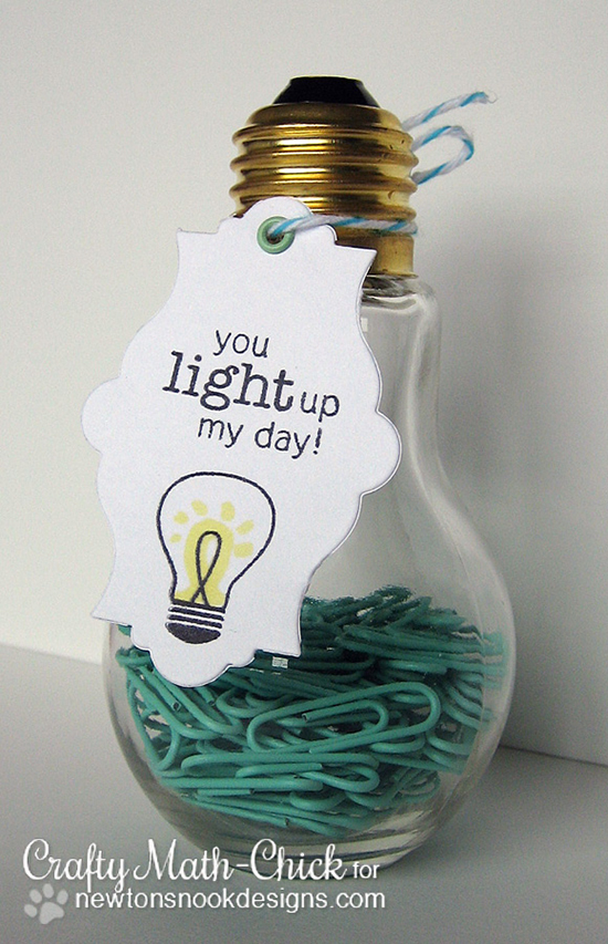 Light bulb tag and gift by Crafty Math-Chick | Around the House Stamp Set | Newton's Nook Designs