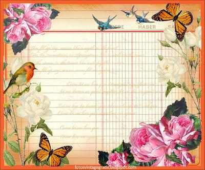 fondo vintage, pájaros y flores sobre cuaderno de cuentas antiguo