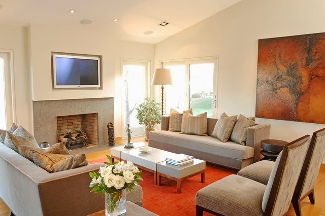 Salas con chimenea y tv salas con estilo for Deavita salon