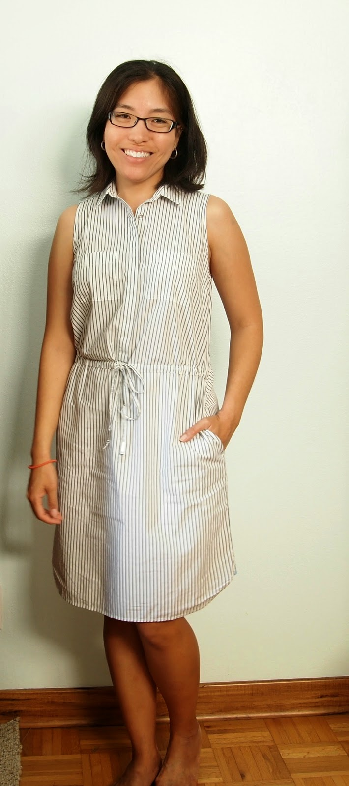 striped dress gray and white teacher style