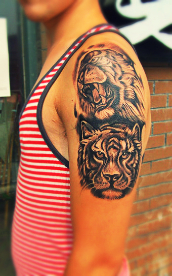 double tiger tattoo design on the arm