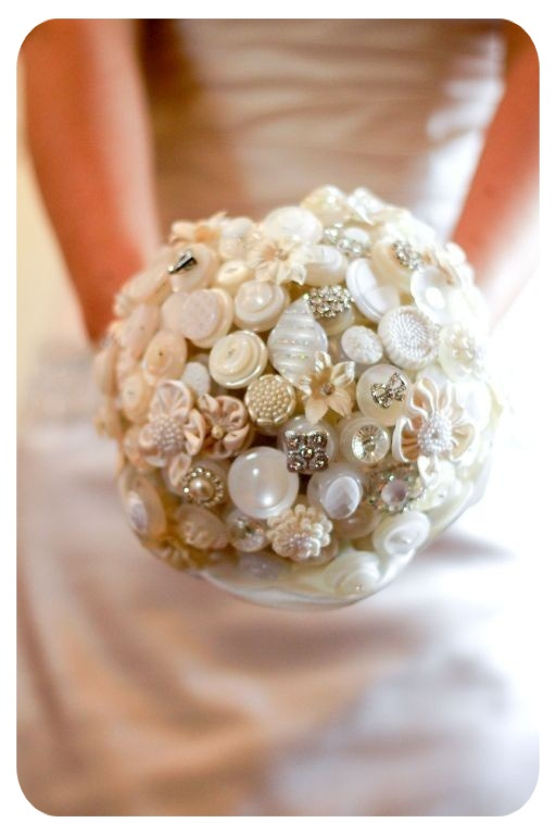 Wedding Bouquet  from Buttons Pearl - Flowers Vintage Jewelry