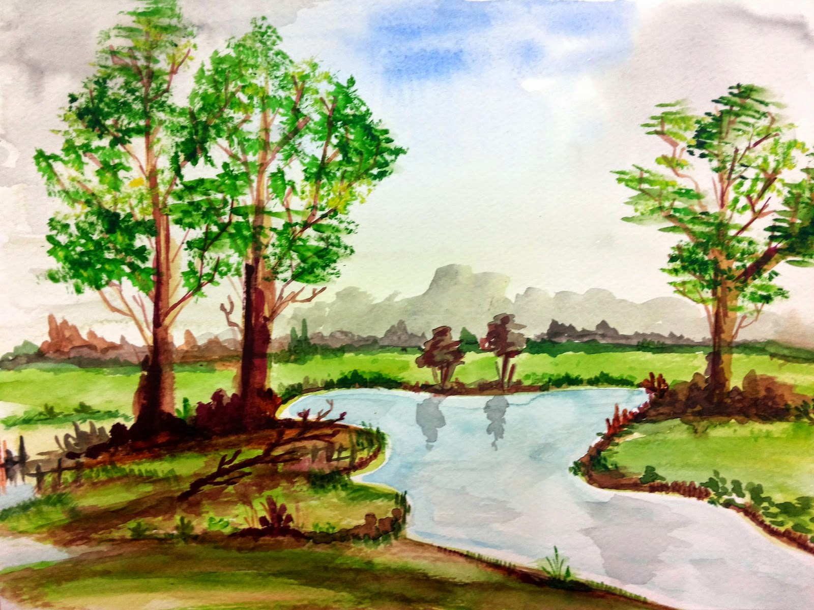 landscape, scenery, illustration, nature, view, painting, watercolour, watercolors, watercolor, scene, trees, river, village