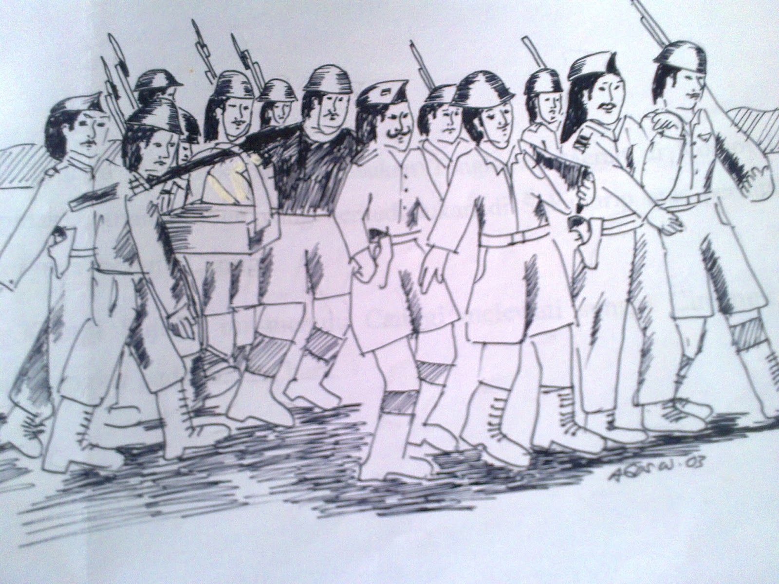 sambut hari Pahlawan 2015ï ¿ Sketsa Perjuangan Tentara Republik Indonesia 1945 karya rg bagus warsono