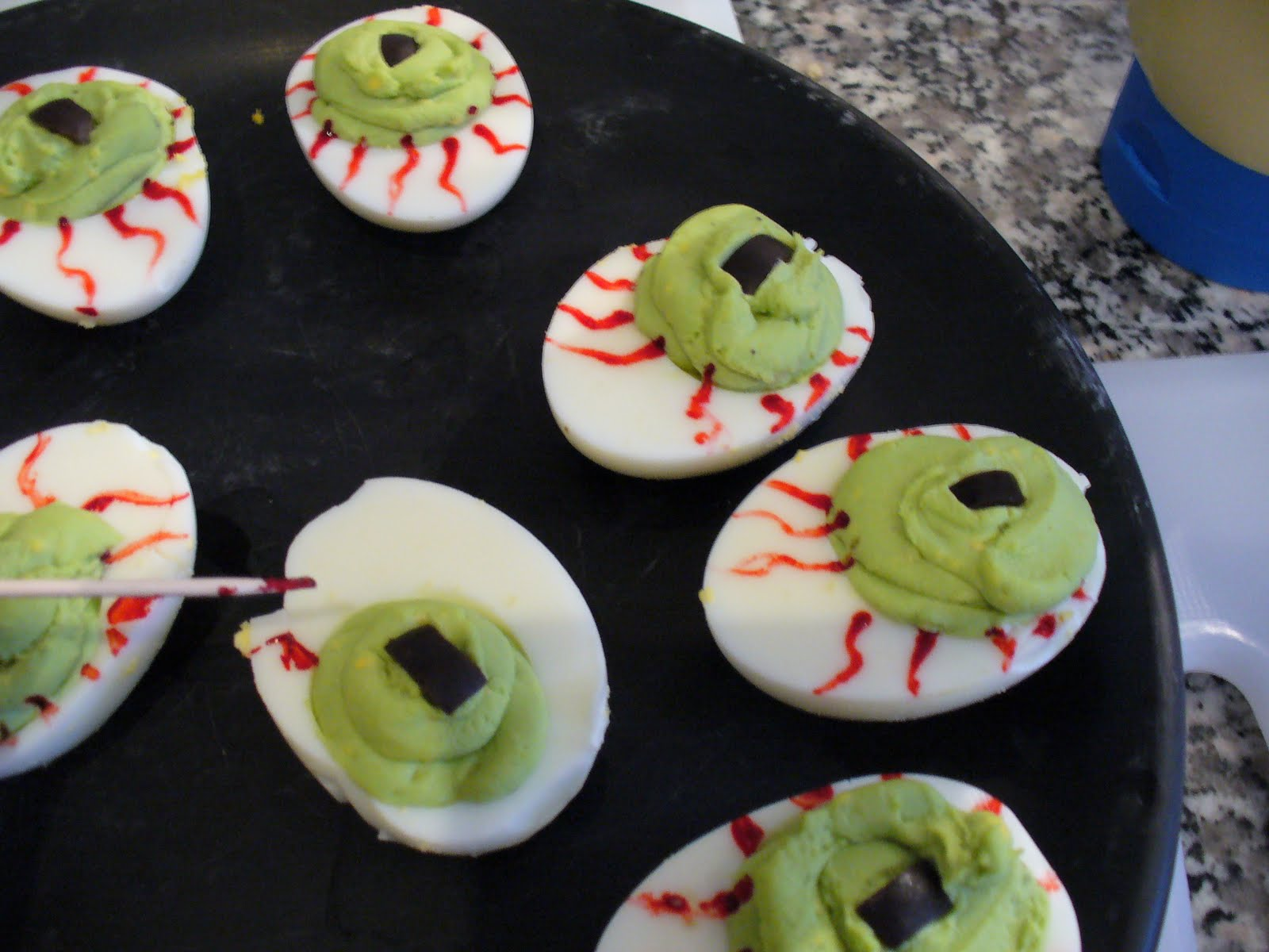 Recipe shoebox deviled egg eyeballs or if you just want to make regular deviled eggs dont add the food coloring or olives theyre still just as tasty forumfinder Gallery