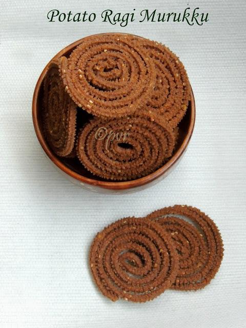 Potato Ragi Murukku, Urulaikizhangu kezhvaragu Murukku,Potato millet murukku