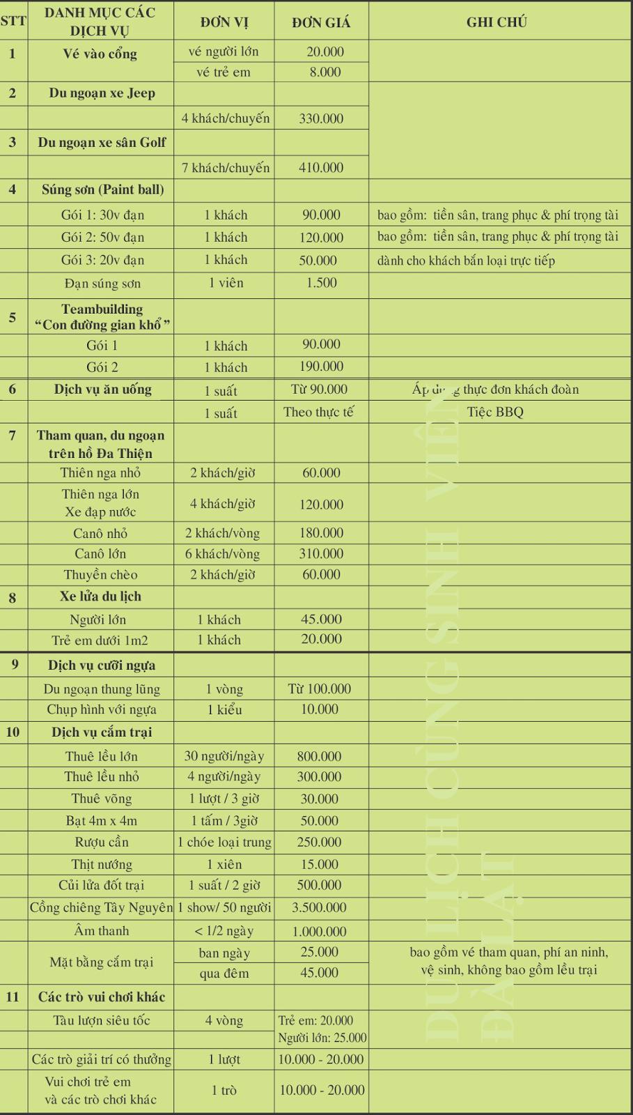 Bảng giá dịch vụ bên trong khu du lịch thung lũng tình yêu Đà Lạt