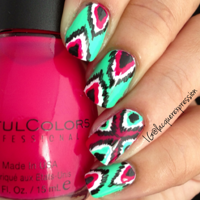 ikat nail art manicure using folley by sinful colors sinfulcolors