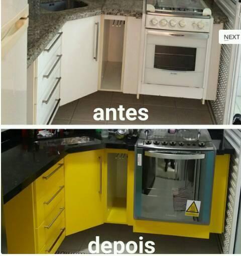 ENVELOPAMENTO DE ARMÁRIO DE COZINHA NA COR AMARELA