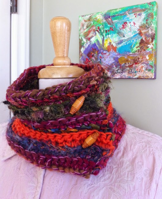 free crochet pattern mixed media cowl