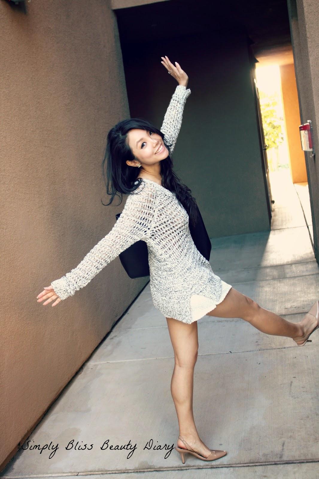 ann taylor loft open stitch sweater with fun Mina lace shorts