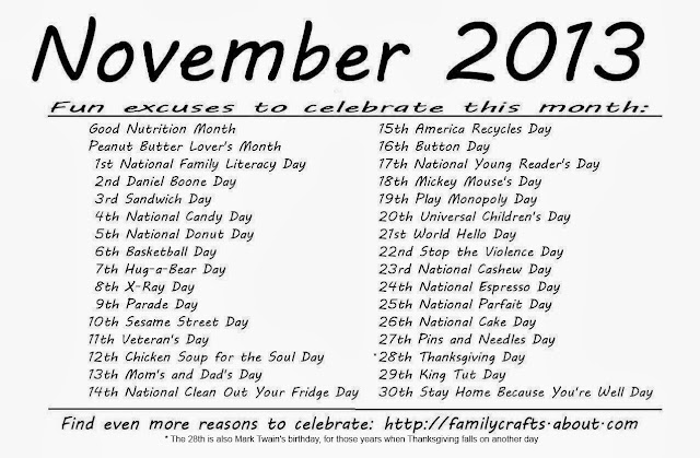 Monthly Calendar Of Events Special Days To Celebrate : Kindergarten and mooneyisms special days november