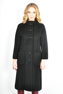 Vintage 1960's black wool Pierre Cardin mod coat.