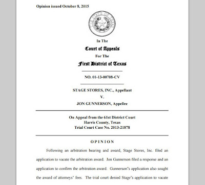01-13-00708-CV Stages Stores Inc v Gunnerson - appellate disagreement on reasoned award in arbitration