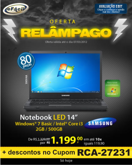 Cupom Efácil - Notebook Samsung 300V4A Intel Core I3