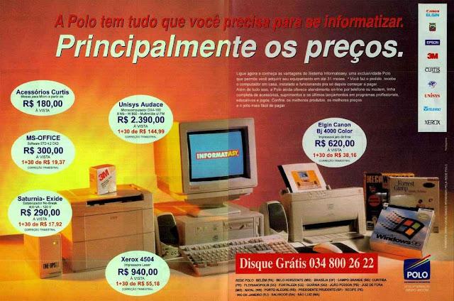 Propaganda de loja de informática com itens de alta tecnologia em 1995.