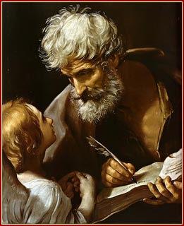 En la imagen San Mateo Evangelista escribiendo y atendiendo a un angel.