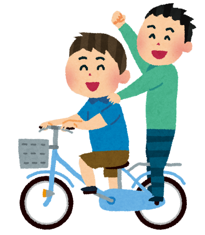 自転車に二人乗りをして騒いで ...