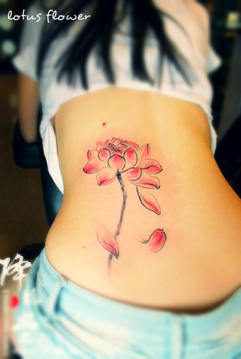 lower back light red lotus flower tattoo design