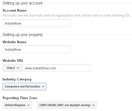 Google Analytics Add New Account