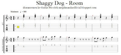 Aransemen Lagu Shaggy Dog - Room di Guitar Pro