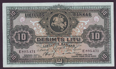 LITHUANIA currency 10 Litu banknote