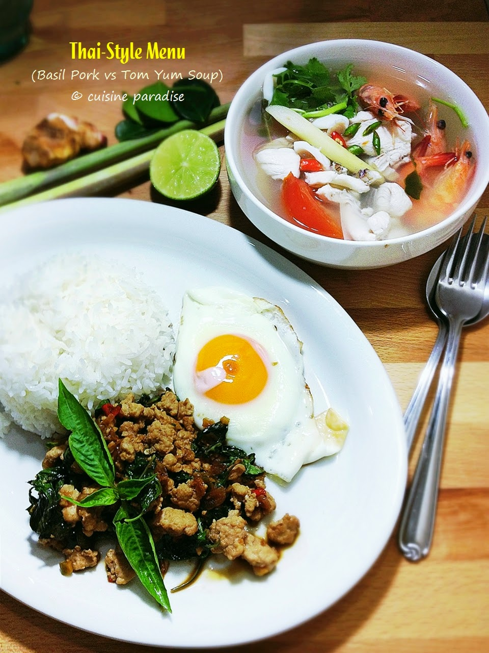 [3 recipes] thai-style steamed pomfret, seafood tom yum and thai basil minced pork