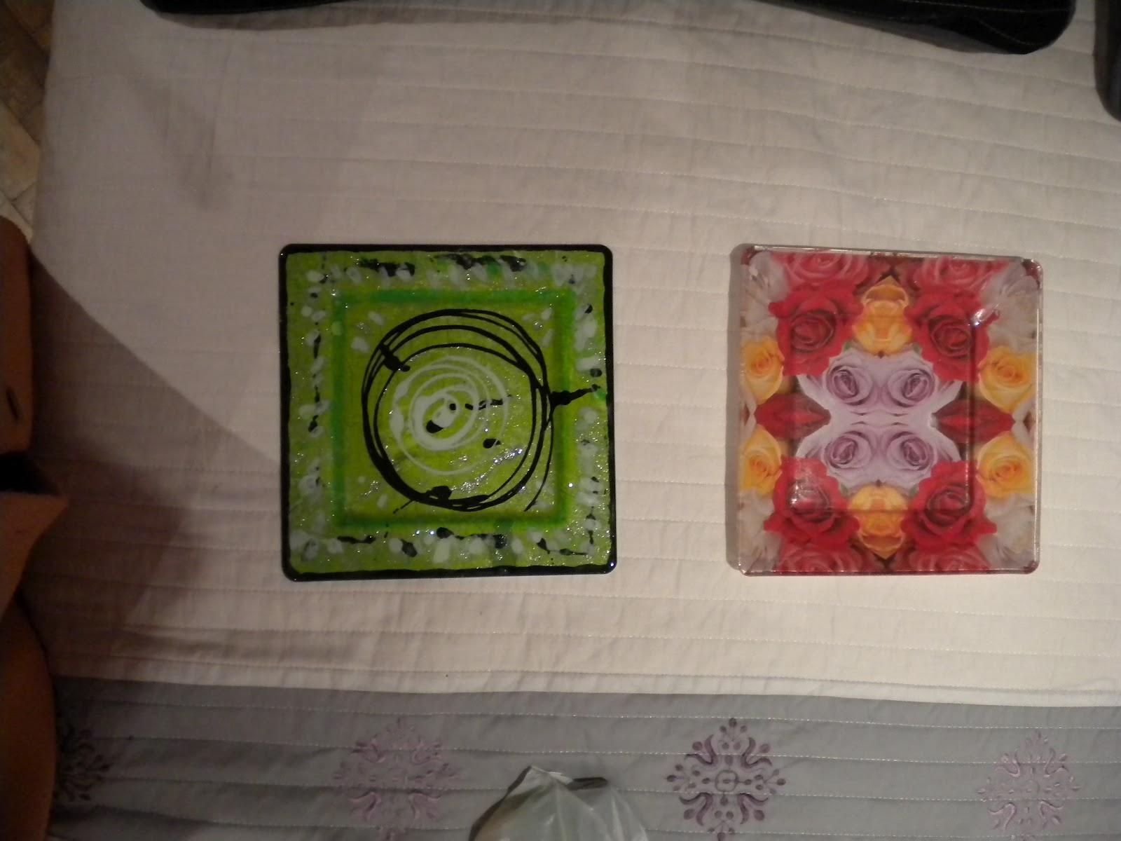 Manualidades tejas pintadas bandejas de cristal pintadas - Bandejas de cristal ...