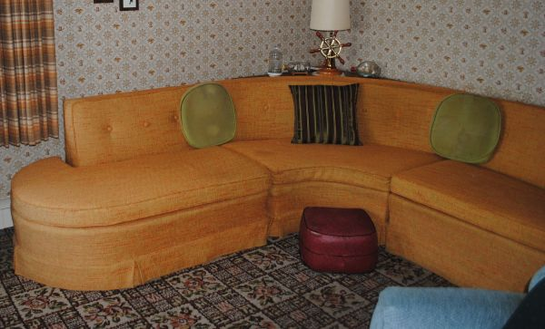 1950s Vintage 3 Piece Sectional Orange Couch Sofa