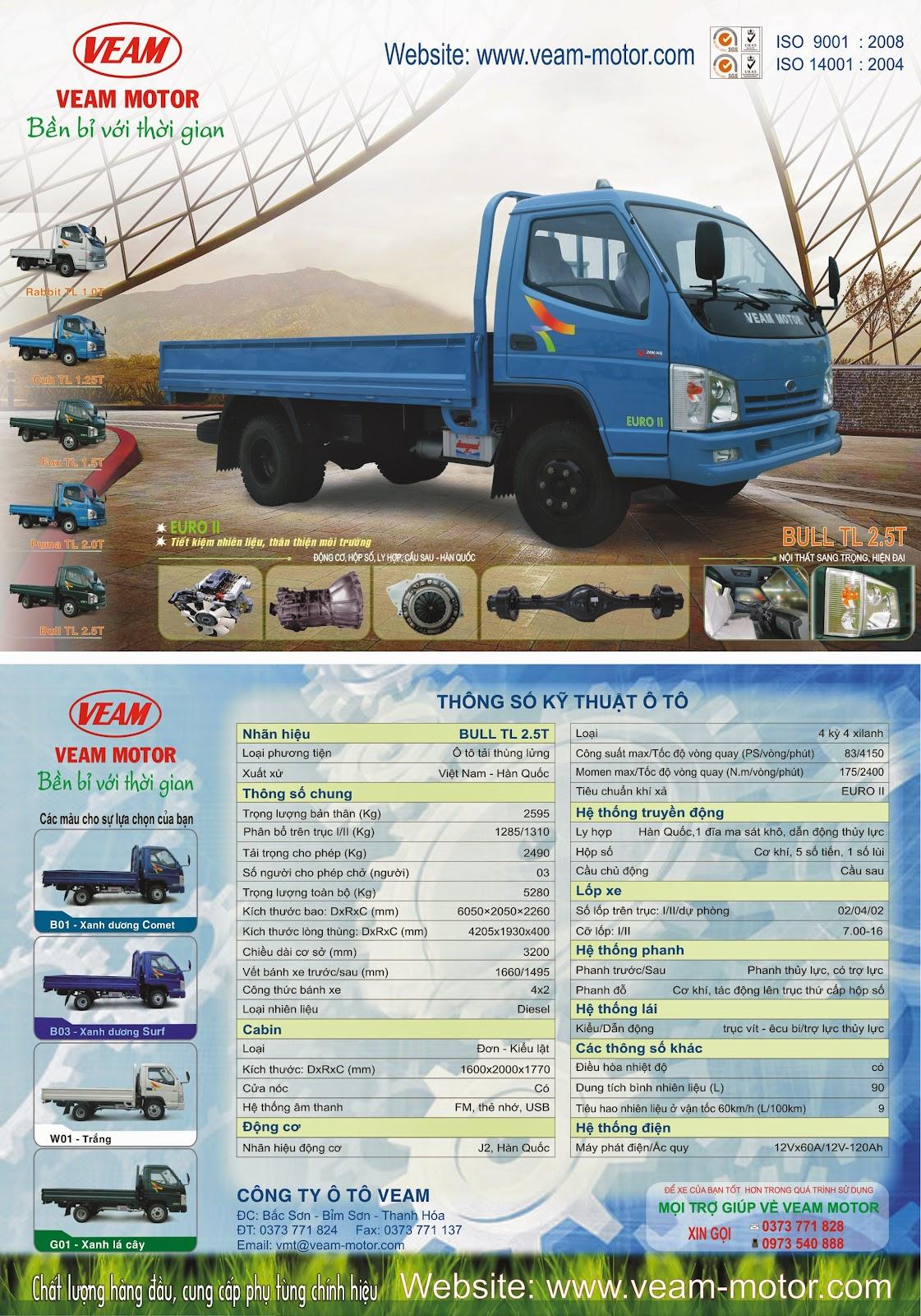 Xe tải Veam 2 tấn 5 - Bull TL 2.5T