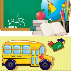 vector school, pencil vector, vector apple, vector school bus, vector blackboard