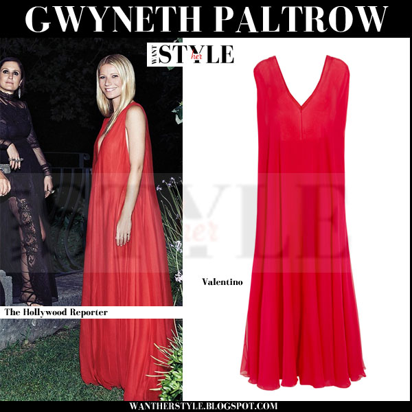 Gwyneth Paltrow in red silk maxi Valentino gown editorial what she wore