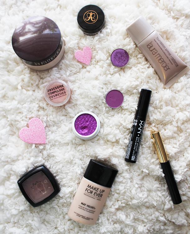 colourpop cosmetics fantasy pigment purple eyeshadow smokey eye mac creme de violet coastal scents amethyst occ pleasure model makeup look