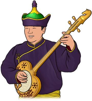 トゥバ共和国のチャンズ(シャンズ chanzy) を演奏する男性のイラスト