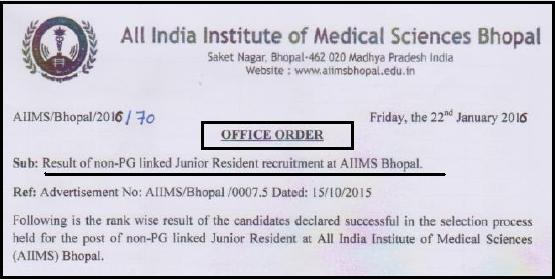 AIIMS Bhopal Non-PG Linked Junior Resident Recruitment Result 2016