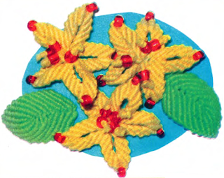 Цветочный комплект в макраме: Плетение броши