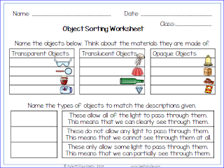 Light properties worksheets