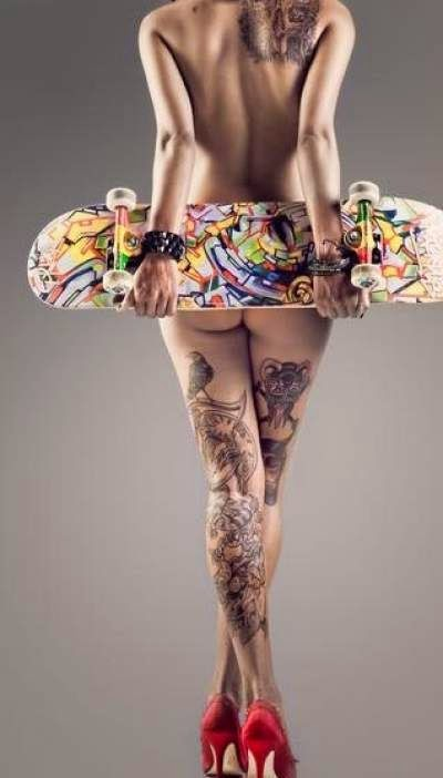 Tattooed girl with nice designs