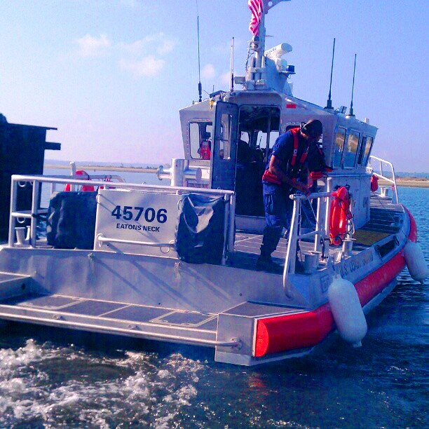 Underway aboard the Station Eatons Neck 45' Medium Response Boat