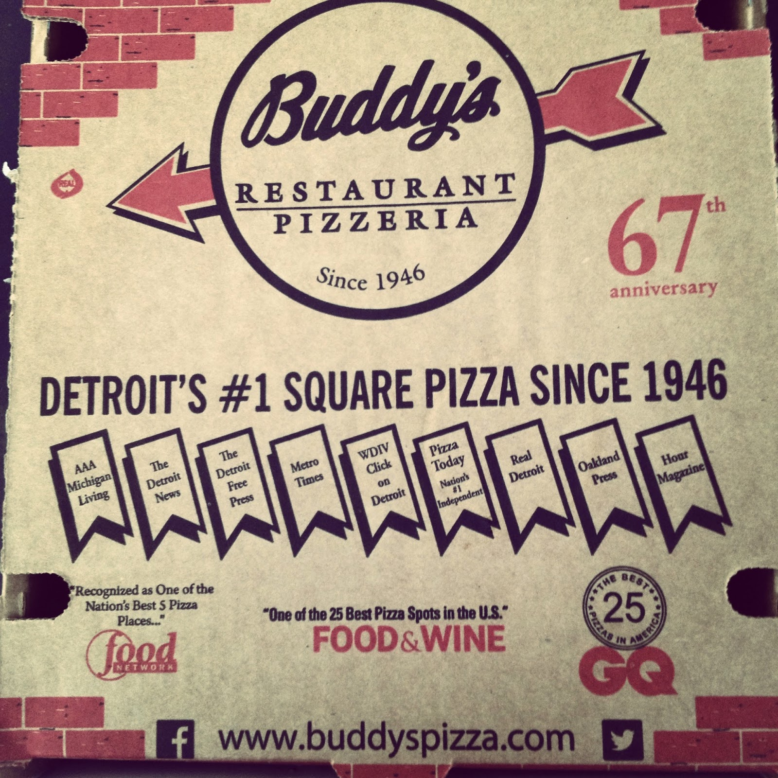 Buddy's Pizza Box Detroit Awards Vegan Vegetarian
