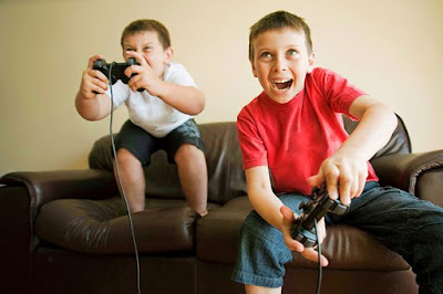 Kids playing a video game