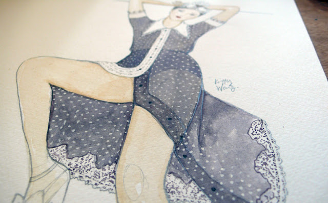 close up of polkadot dress fashion illustration
