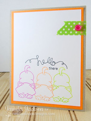 Hello Neon Cat Card - Newton's Nook Designs