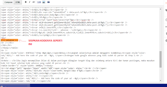 Cara menyisipkan kode <!-- adsense --> di mode HTML