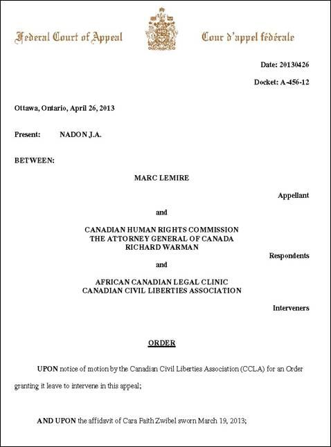 Canadian Human Rights Commission EXPOSED!: CCLA & CAFE Granted ...
