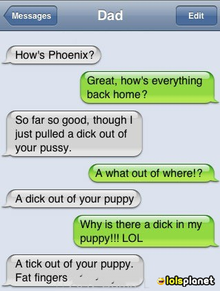 Autocorrect always gets people into trouble, this time a dad just takes it to another level playing with the puppy, funny iphone text.