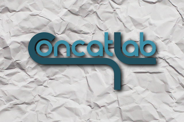 Concatlab site logo with crumpled paper background