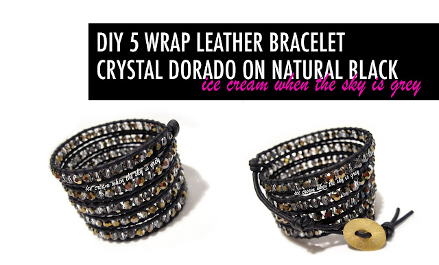 DIY Bracelet: 5 Wrap With Crystal Dorado On Natural Black Leather Cord (Preview)