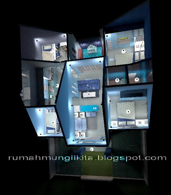 rumah mungil minimalis bernuansa biru tipe 70 4 kamar tidur denah 3 dimensi
