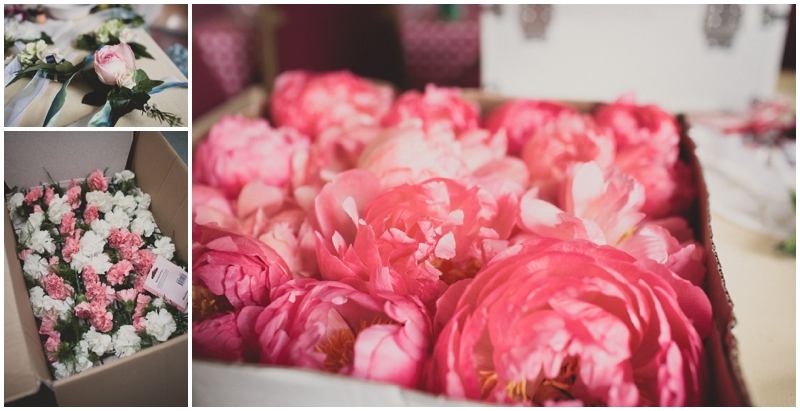 Peonies and carnations for wedding flowers
